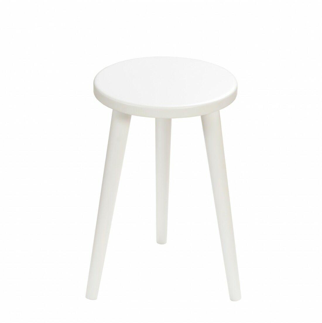 Taboret okrągły ze sklejki Crystal White, Wykończenie nogi - Biały, Wysokość - 410, Wymiar siedziska (Średnica) - 300
