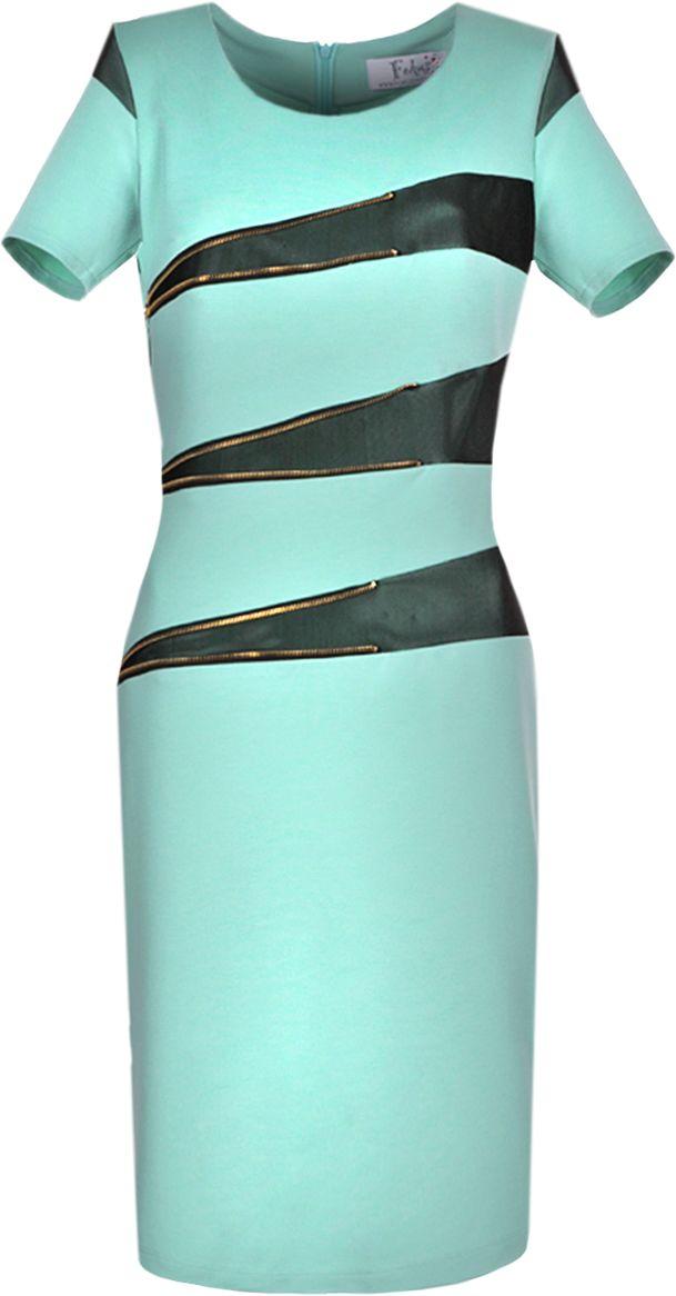 Sukienka FSU349 SELEDYNOWY CIEMNY CZARNY