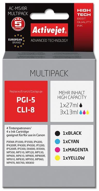 Zestaw tuszy Activejet AC-M5/8R (zamiennik Canon PGI-5Bk, CLI-8C, CLI-8M, CLI-8Y; Premium; 1 x 27 ml, 3 x 13 ml.; czarny, czerwony, niebieski, żółty)