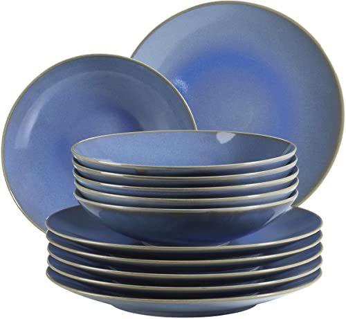 MÄSER 931554 Ossia zestaw talerzy dla 6 osób w stylu śródziemnomorskim vintage, 12-częściowy nowoczesny serwis stołowy z talerzami do zupy i talerzami obiadowymi w kolorze jasnoniebieskim, ceramicznym