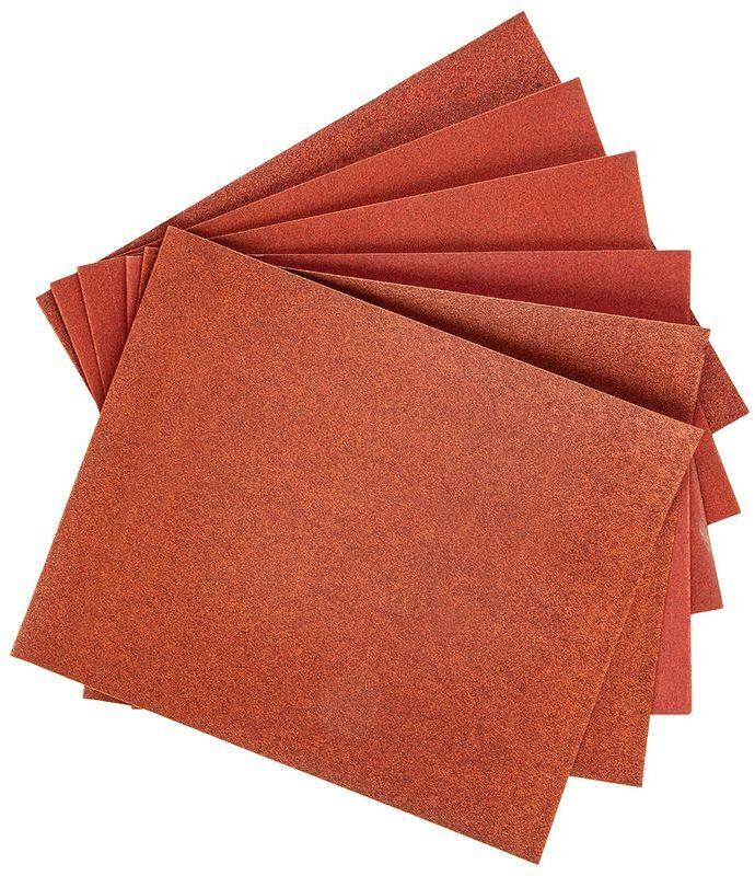 Papier ścierny w arkuszu 230x280mm K80 K100x2 K180x2 K240 zestaw 6szt. 63H655