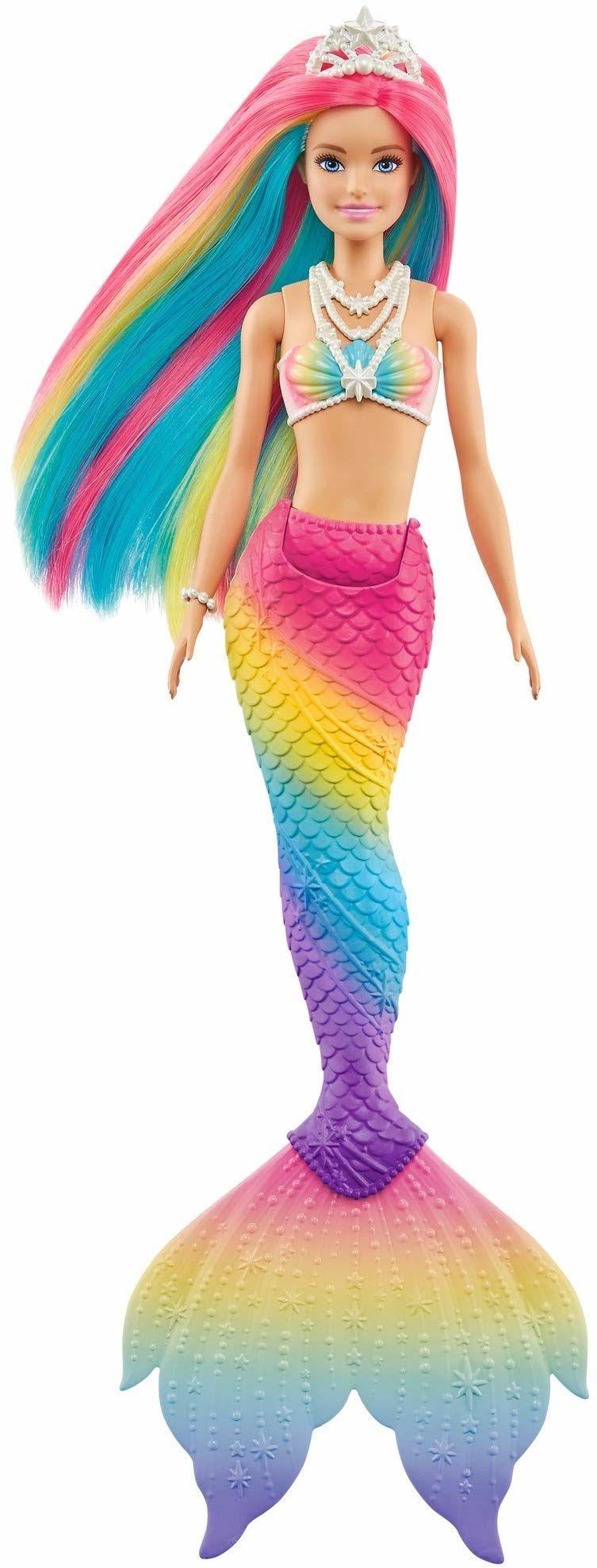 Barbie GTF89 Dreamtopia różdżka syrenki z tęczowymi włosami i funkcją zmiany koloru, prezent dla dzieci w wieku od 3 do 7 lat