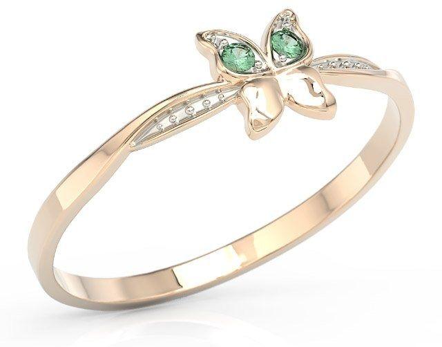 Pierścionek motylek z różowego złota z zielonymi cyrkoniami bp-88p-r-c