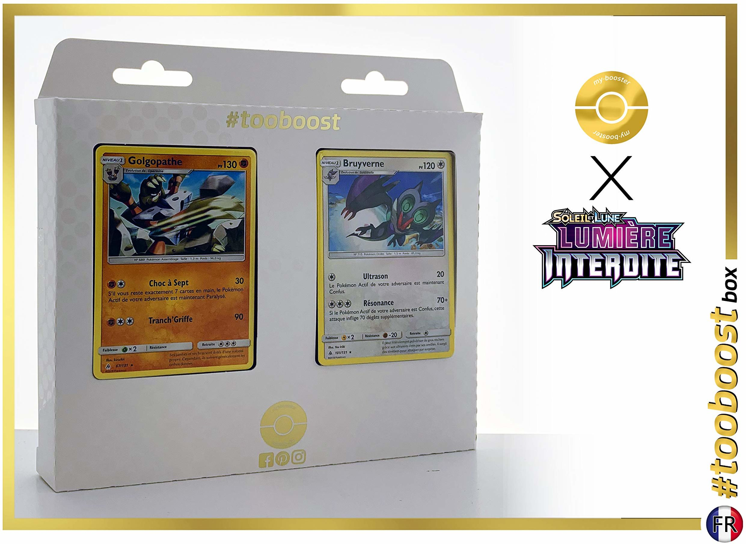 Golgopathe 67/131 & Bruyverne 101/131  #tooboost X Soleil & Księżyc 6 świateł, zestaw z 10 francuskimi kartami Pokémon + 1 Goodie Pokémon
