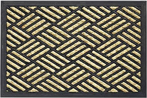 Boucara wycieraczka do użytku wewnątrz i na zewnątrz, włókno kokosowe i guma, motyw w kratkę, 40 x 60 cm