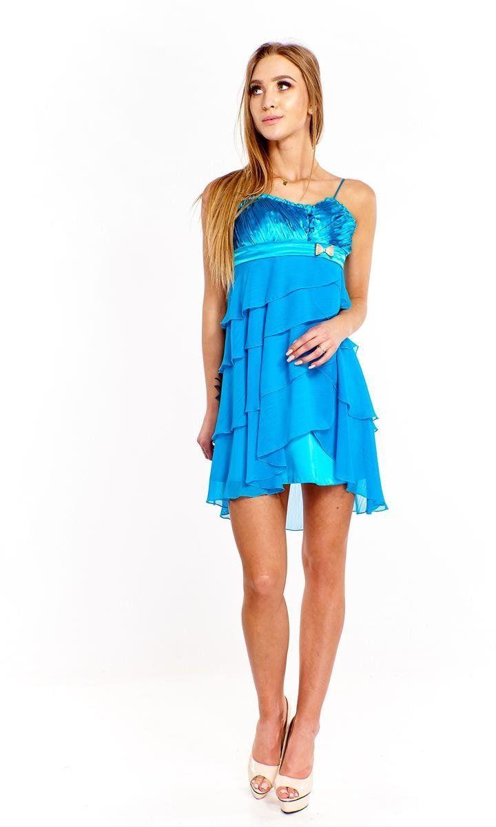 Sukienka FSU183 TURKUSOWY