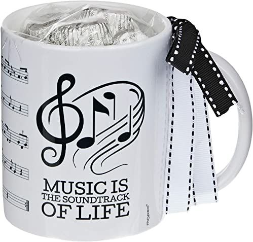 Mopec GB297.3 kubek ceramiczny Musical Score w pudełku na prezent, 6 pralinek