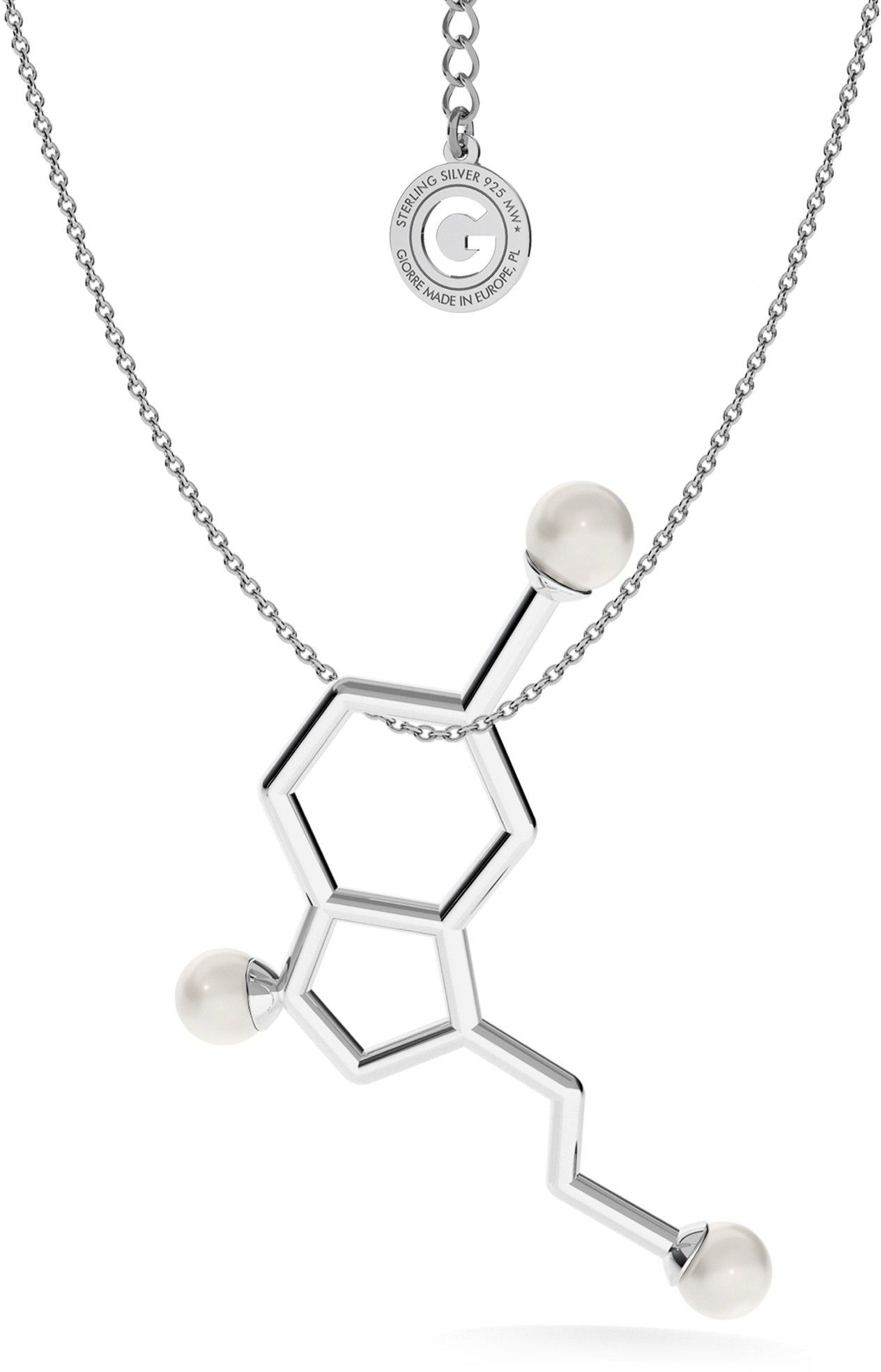 Srebrny naszyjnik - serotonina z dużymi perłami Swarovskiego, wzór chemiczny, srebro 925 : Perła - kolory - SWAROVSKI WHITE, Srebro - kolor pokrycia - Pokrycie platyną