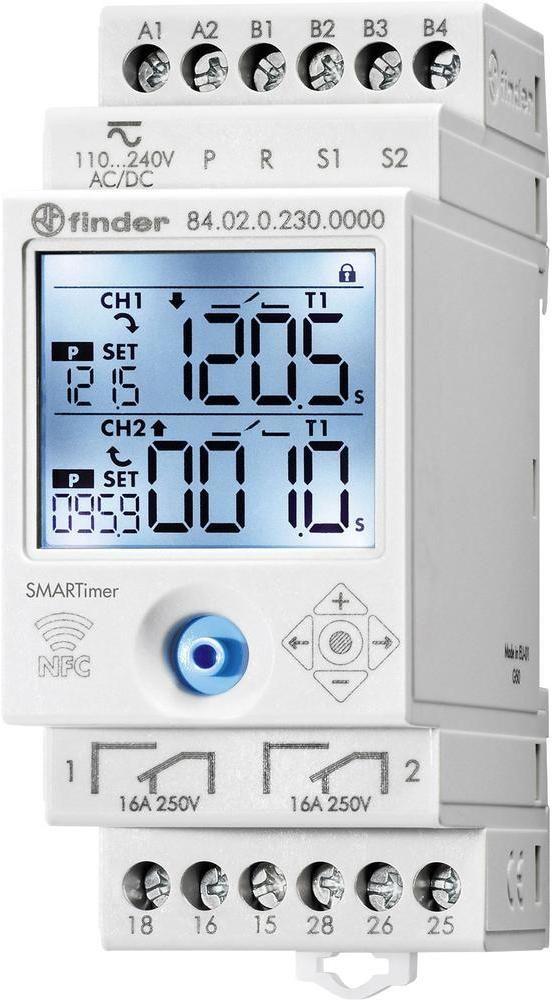 SMARTime przekaźnik czasowy NFC Finder 84.02.0.230.0000 SMARTimer wielofunkcyjny elektroniczny przekaźnik czasowy 110 240 V AC/DC 2 niezależne kanały 16A z programowaniem NFCFinder 84.02.0.230.0000