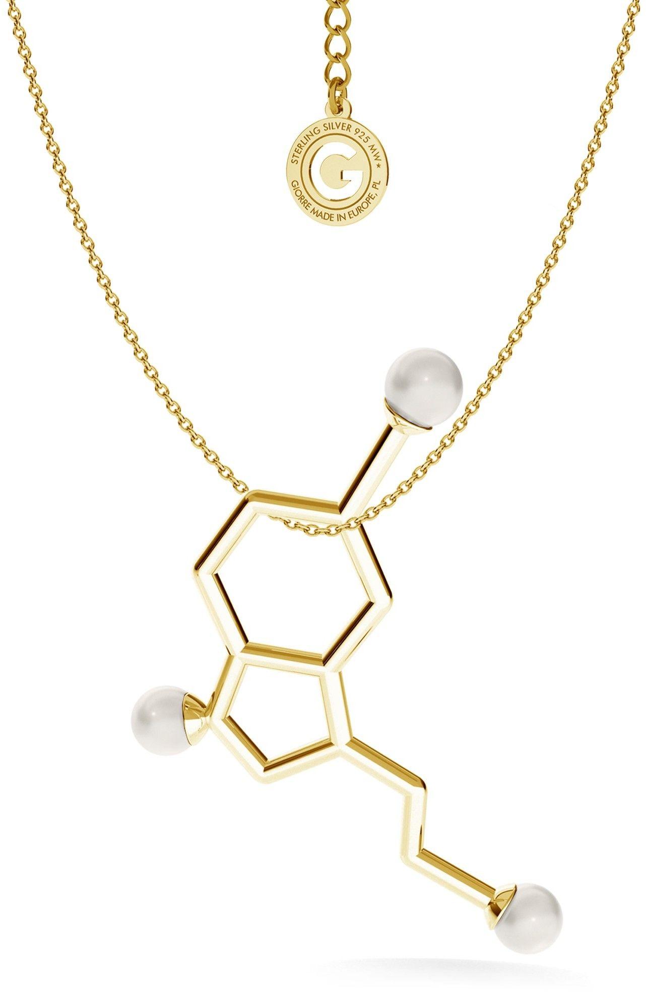 Srebrny naszyjnik - serotonina z dużymi perłami Swarovskiego, wzór chemiczny, srebro 925 : Perła - kolory - SWAROVSKI WHITE, Srebro - kolor pokrycia - Pokrycie żółtym 18K złotem