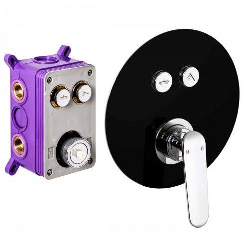 Bateria prysznicowa podtynkowa fi 20 cm, chrom/czarna półmat