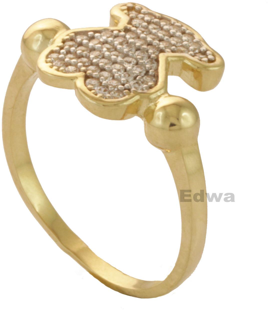Pierścionek złoty celebrytka z Misiem T, pr.585