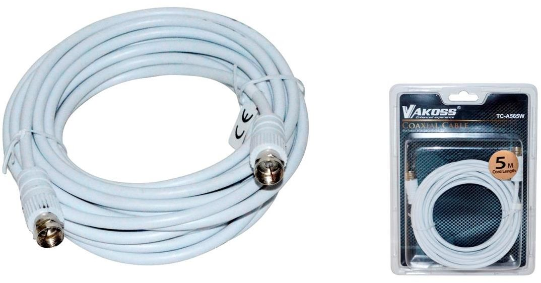 Kabel koncentryczny TV (antenowy) VAKOSS TC-A565W M/M 5m biały