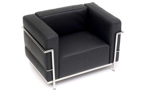 Czarny Fotel Skóra Naturalna Inspirowany Projektem LC3