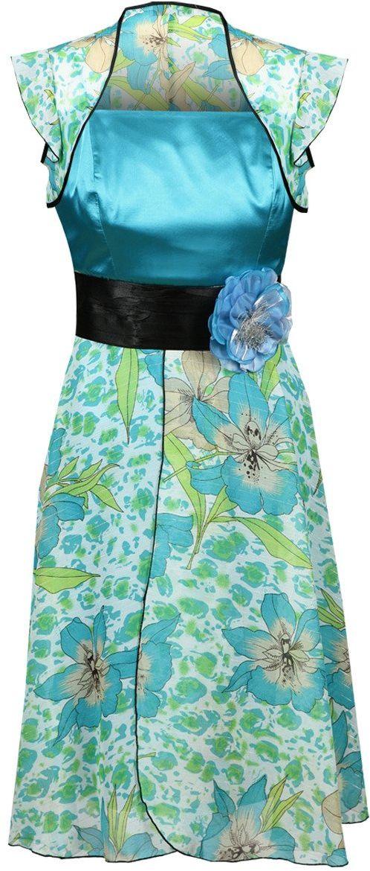 Sukienka FSU184 MULTIKOLOR TURKUS CIEMNY