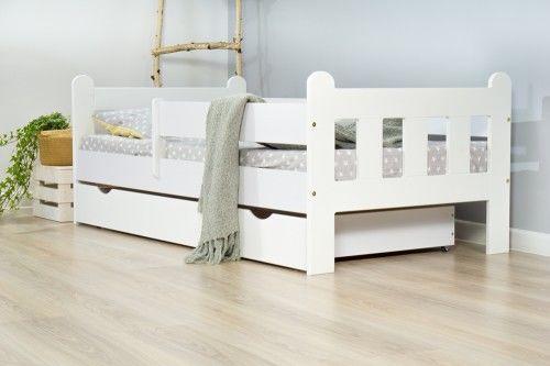 Łóżko 140x70cm Nightingale pojedyncze z szufladą kolor biały
