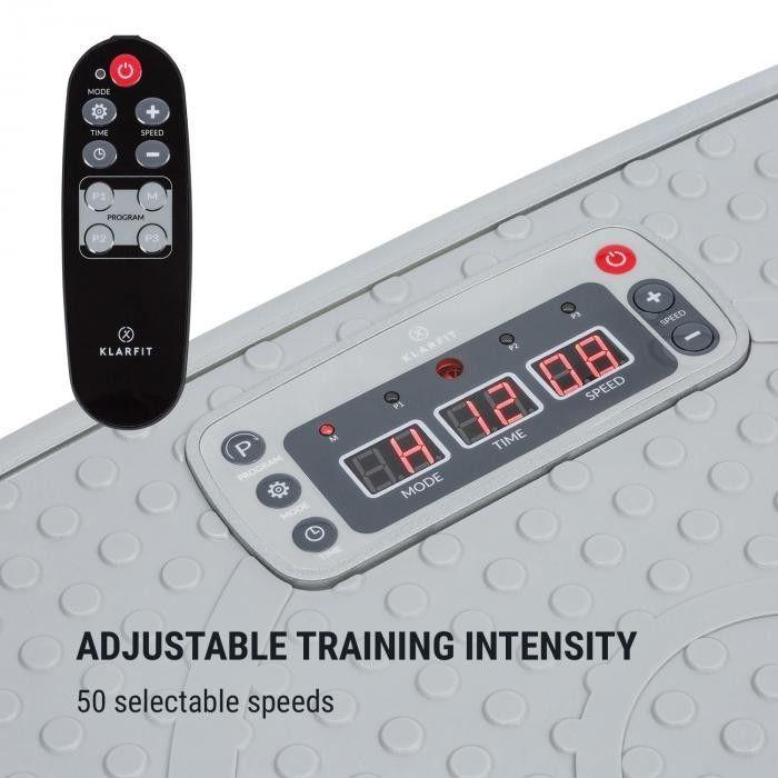 KLARFIT Vib 1000 Trenażer wibracyjny 5 trybów pracy regulowany czas& intensywność srebrny