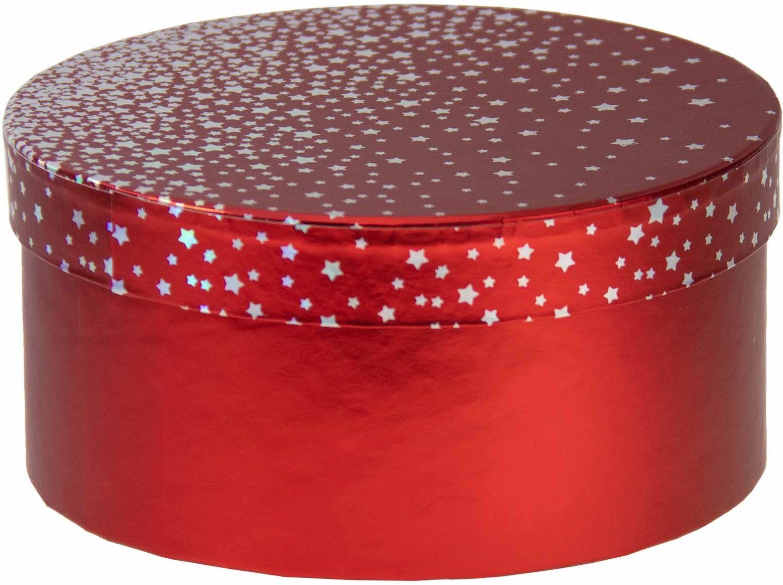 Idena 31459  pudełko na prezent z gwiazdkami, wymiary 16 x 16 x 8 cm, na Boże Narodzenie, urodziny, na prezent, opakowanie na prezent