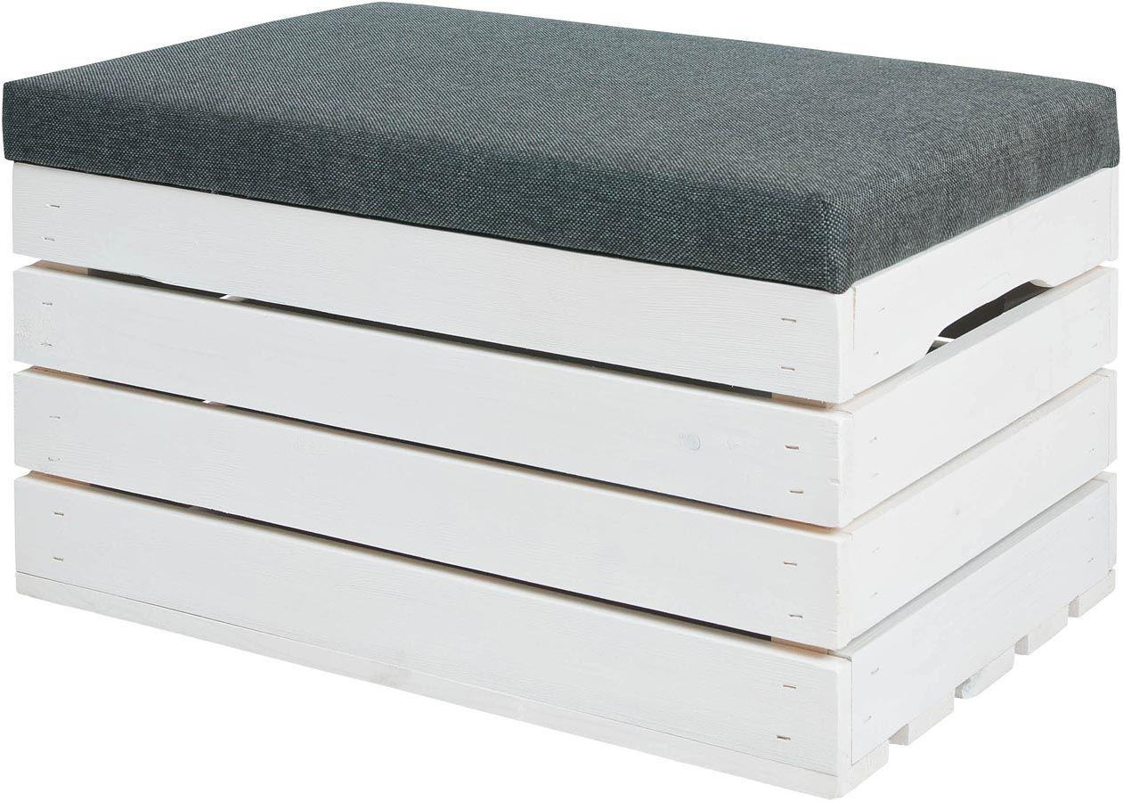 Biała sosnowa skrzynia z siedziskiem Alva 3X- 38 kolorów