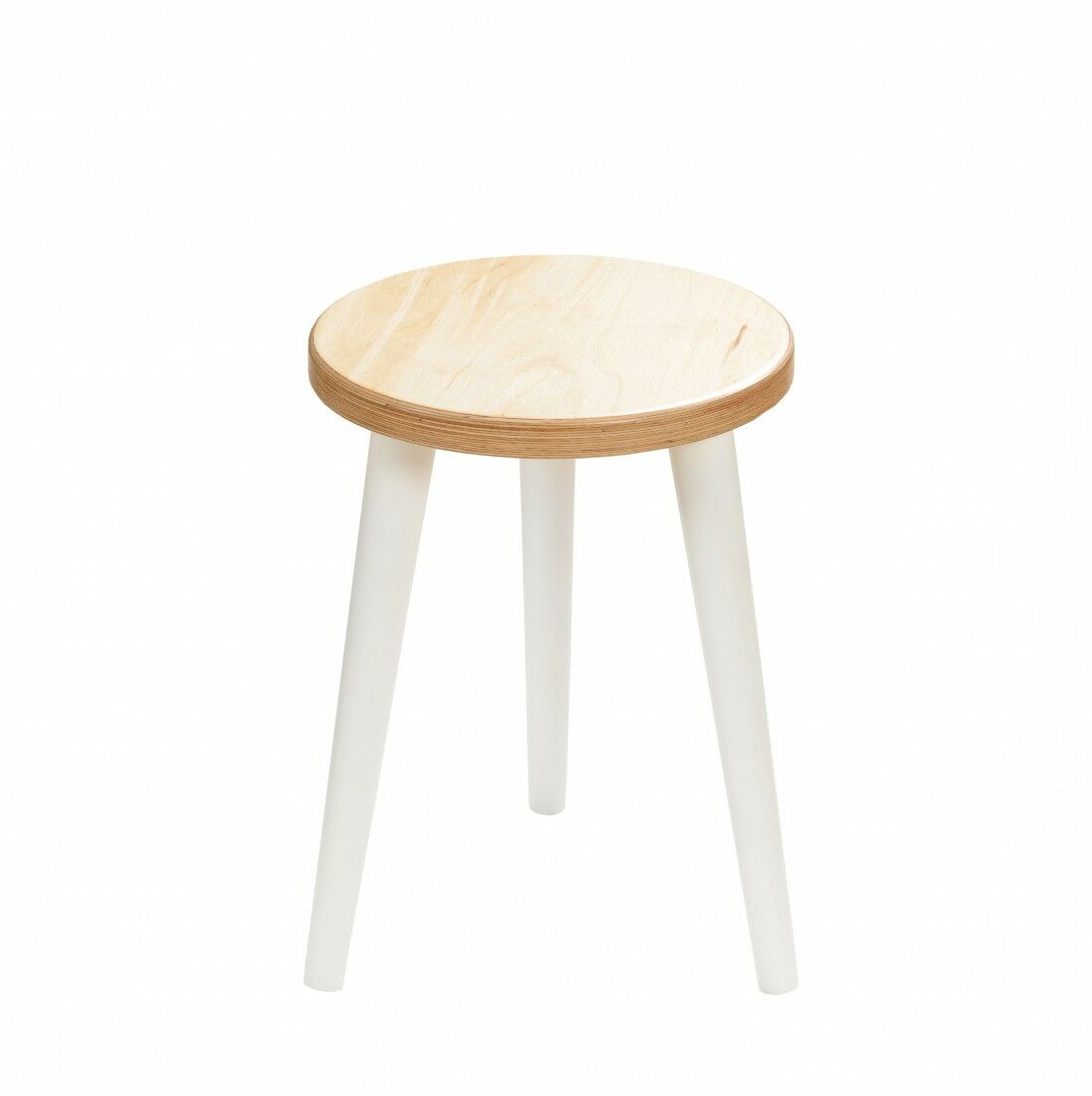 Taboret okrągły ze sklejki Freakexpo, Wykończenie nogi - Biały, Wysokość - 410, Wymiar siedziska (Średnica) - 300