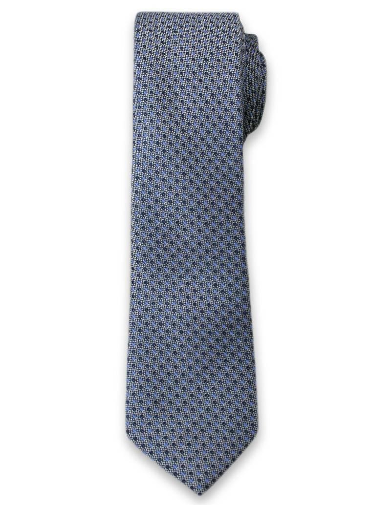 Elegancki Krawat Męski w Drobny Wzór - 6 cm - Alties, Niebiesko-Granatowy KRALTS0098