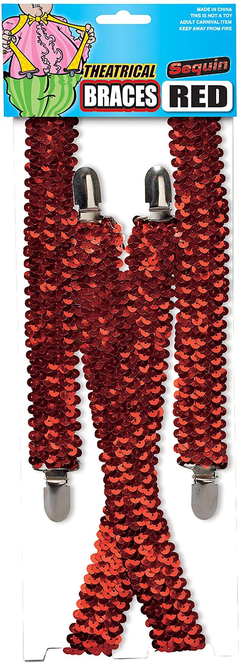 Bristol Novelty BA1026 szelki z cekinami, kolor czerwony, rozmiar uniwersalny