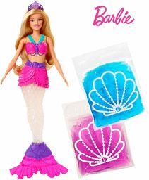 Barbie GKT75 Dreamtopia Błyszcząca Lalka Syrenka, z 2 Wyjmowanymi Torebkami, Zdejmowana Płetwa i Diadem, Wielokolorowa