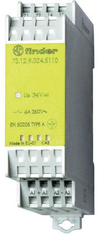 Finder 7S.12.9.024.5110 Finder 7S.12.9.024.5110 Moduł przekaźnikowy z mechanicznie sprzężonymi zestykami 24VDC styk 1NO+1NC op. 5szt.