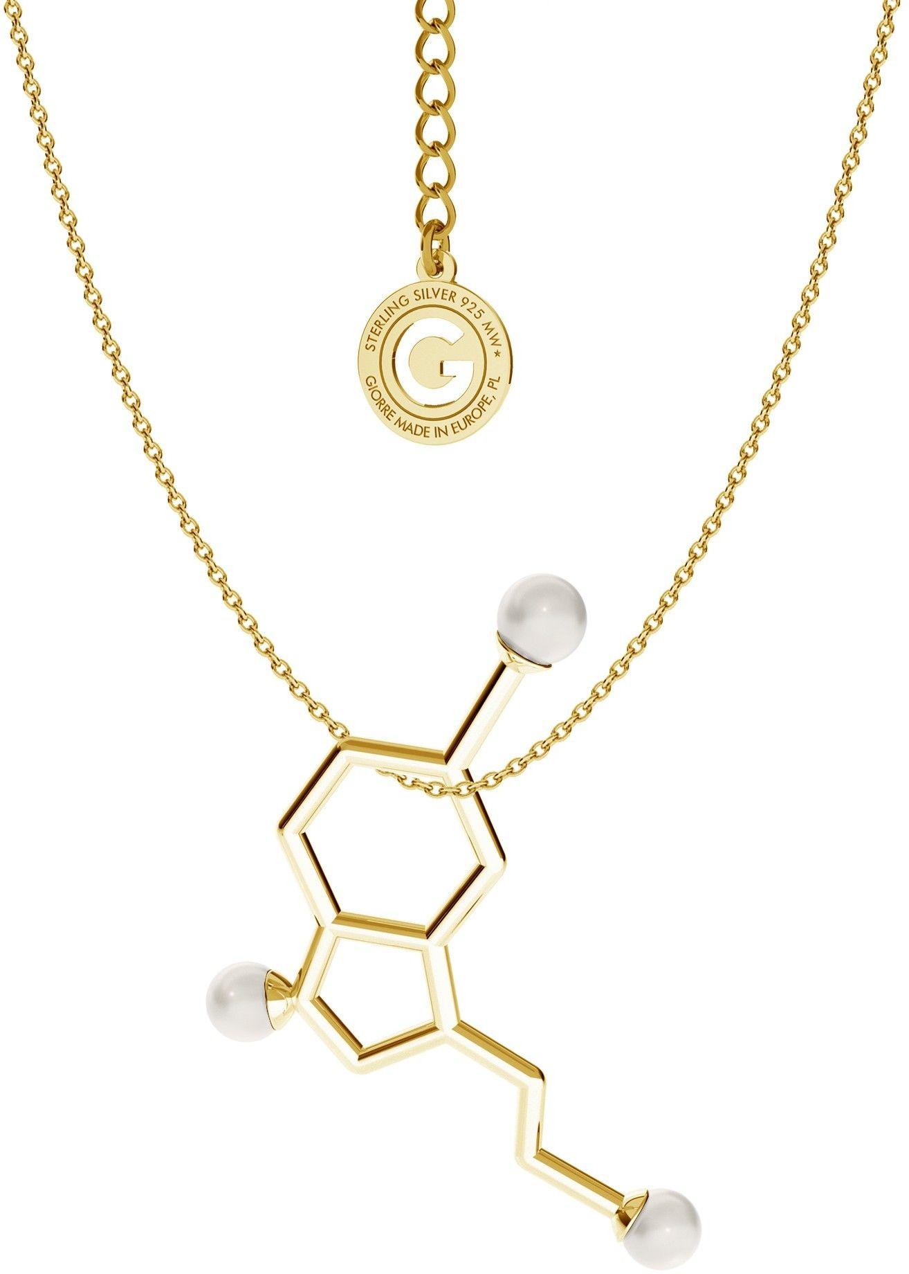 Srebrny naszyjnik - serotonina z małymi perłami Swarovskiego, wzór chemiczny, srebro 925 : Perła - kolory - SWAROVSKI WHITE, Srebro - kolor pokrycia - Pokrycie żółtym 18K złotem