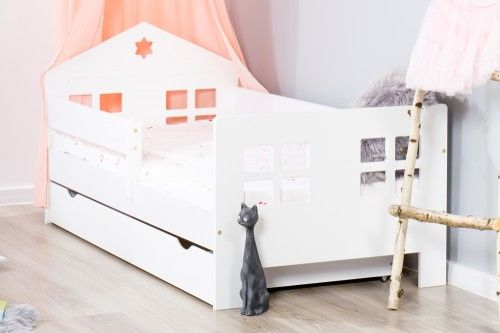 Łóżko 140x80cm Ladybird pojedyncze z szufladą kolor biały