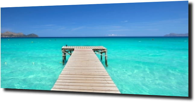 obraz na szkle Drewniany pomost w raju 125X50