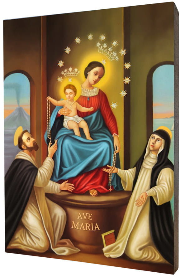 Obraz na desce lipowej, Matka Boża Pompejańska