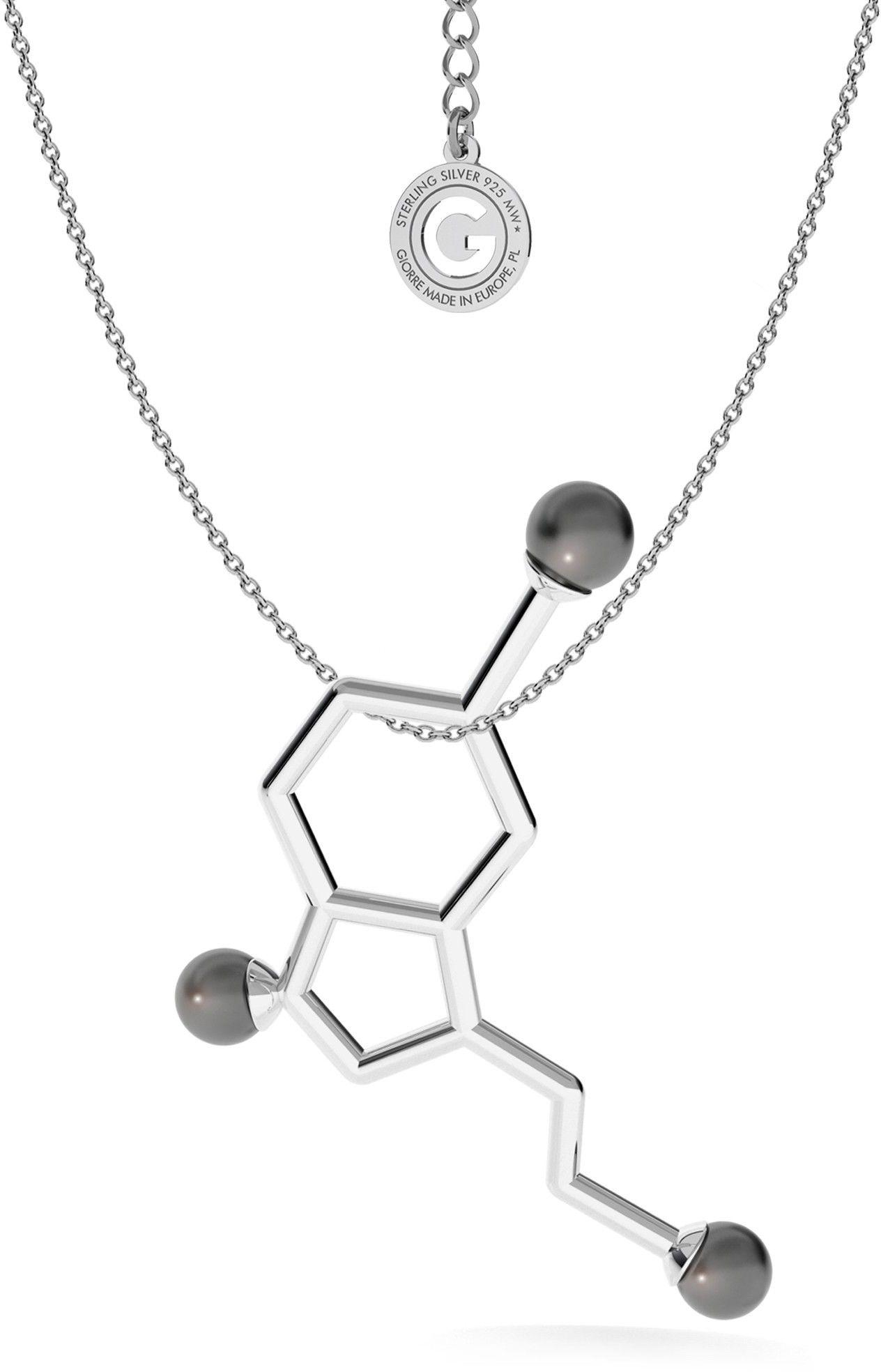 Srebrny naszyjnik - serotonina z dużymi perłami Swarovskiego, wzór chemiczny, srebro 925 : Perła - kolory - SWAROVSKI BLACK, Srebro - kolor pokrycia - Pokrycie platyną