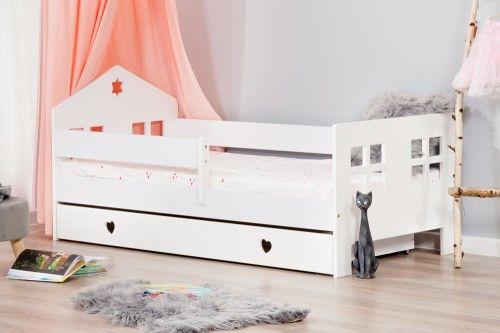Łóżko 140x80cm Ladybird pojedyncze z szufladą serduszka kolor biały