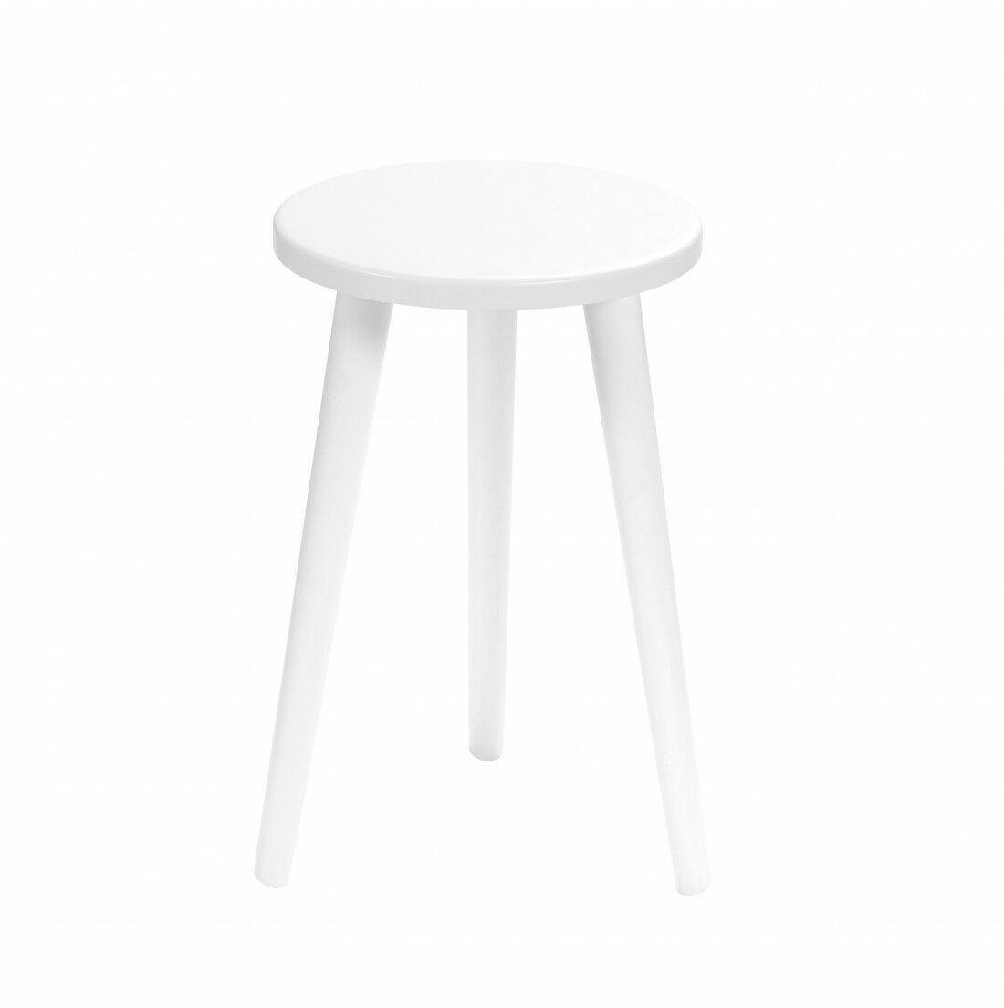 Taboret okrągły ze sklejki Crystal White, Wykończenie nogi - Biały, Wysokość - 470, Wymiar siedziska (Średnica) - 300