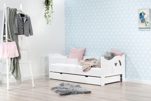 Łóżko 140x70cm Mr Moth pojedyncze z szufladą kolor biały
