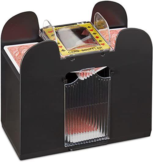 Relaxdays 10021345 mikser kart elektrycznych, na 6 pokładów, zasilanie bateryjne, mikser kart do pokera, Rommé i Skat, czarny