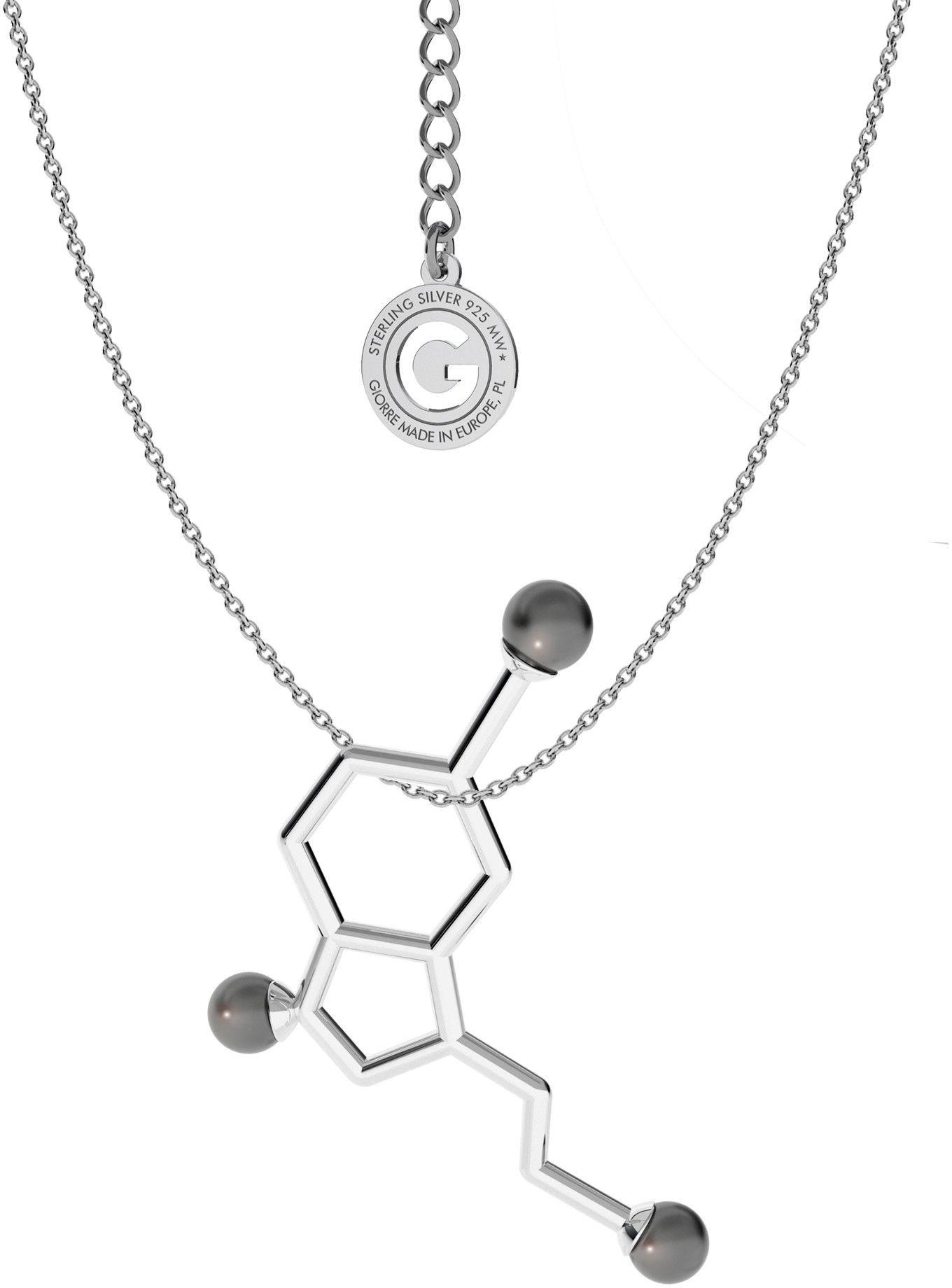 Srebrny naszyjnik - serotonina z małymi perłami Swarovskiego, wzór chemiczny, srebro 925 : Perła - kolory - SWAROVSKI BLACK, Srebro - kolor pokrycia - Pokrycie platyną
