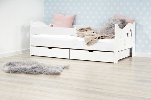 Mr Moth łóżko pojedyncze z dwiema szufladami kolor biały - 2 rozmiary