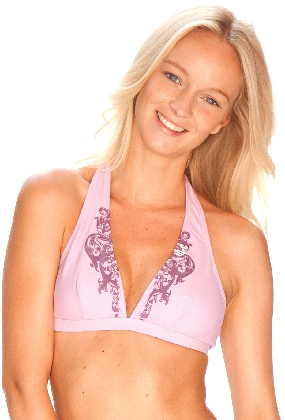 iQ-Company damska koszulka bikini wiązana na szyi Respect, 2335_lilac, 38, 673539_2335_38