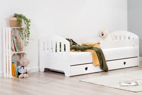 Łóżko 140x70cm Sweet Armadillo z szuflada serduszka kolor biały