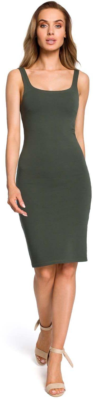 Ołówkowa sukienka na ramiączkach - zielona