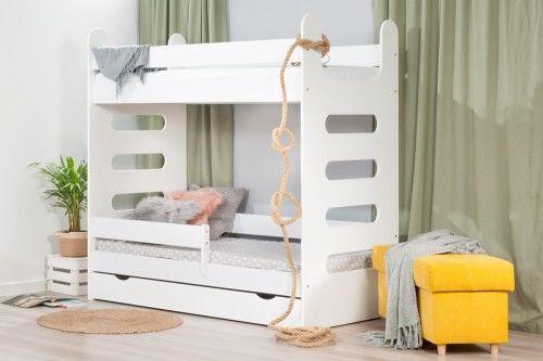 Łóżko 160x80cm High Crane piętrowe z szufladą kolor biały