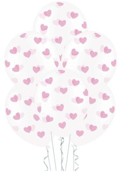 Balony w różowe serduszka 6 sztuk 400066