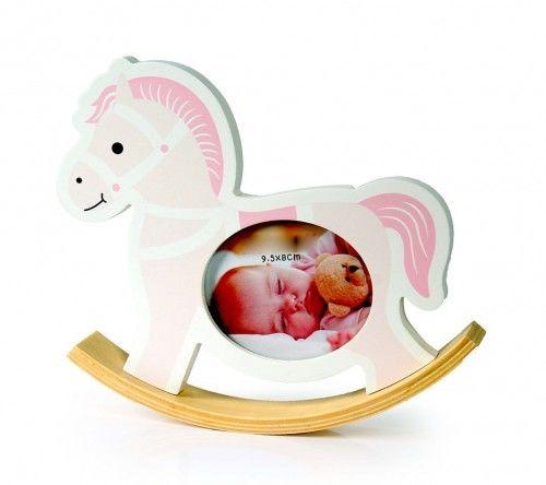 Ramka 10x15 dekoracyjna różowa Koń na biegunach