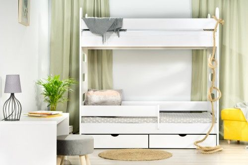 Łóżko 160x80cm High Crane piętrowe z dwiema szufladami kolor biały