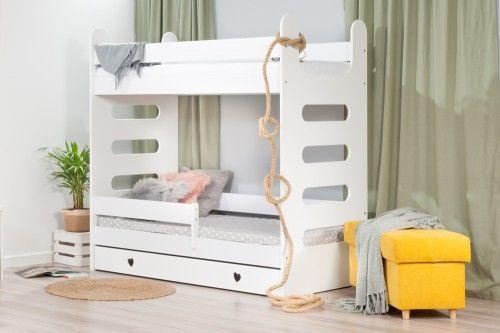 Łóżko 160x80cm High Crane piętrowe z szufladą serduszka kolor biały