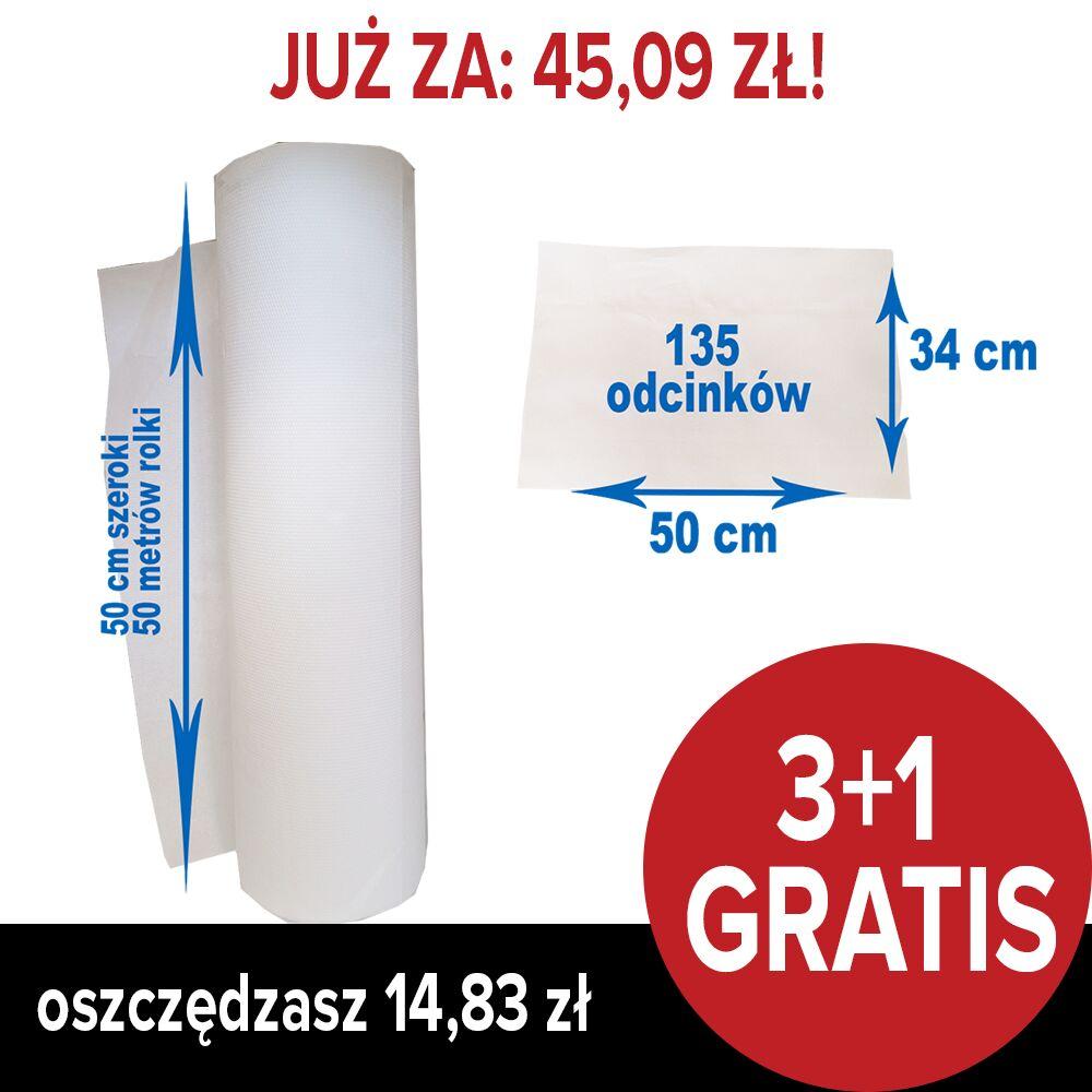 Podkład medyczny BulkySoft - celulozowy - biały 50 cm x 46 m - 2 warstwowy (PAKIET 3+1 GRATIS)