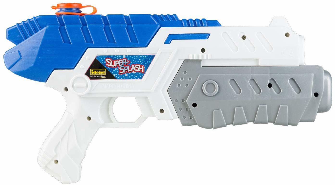 """Idena 40427  Idena """"Super-Splash"""", pistolet na wodę dla dzieci, z pompką, rozmiar ok. 32 cm, biały, idealny na urlop, na plażę lub basen"""