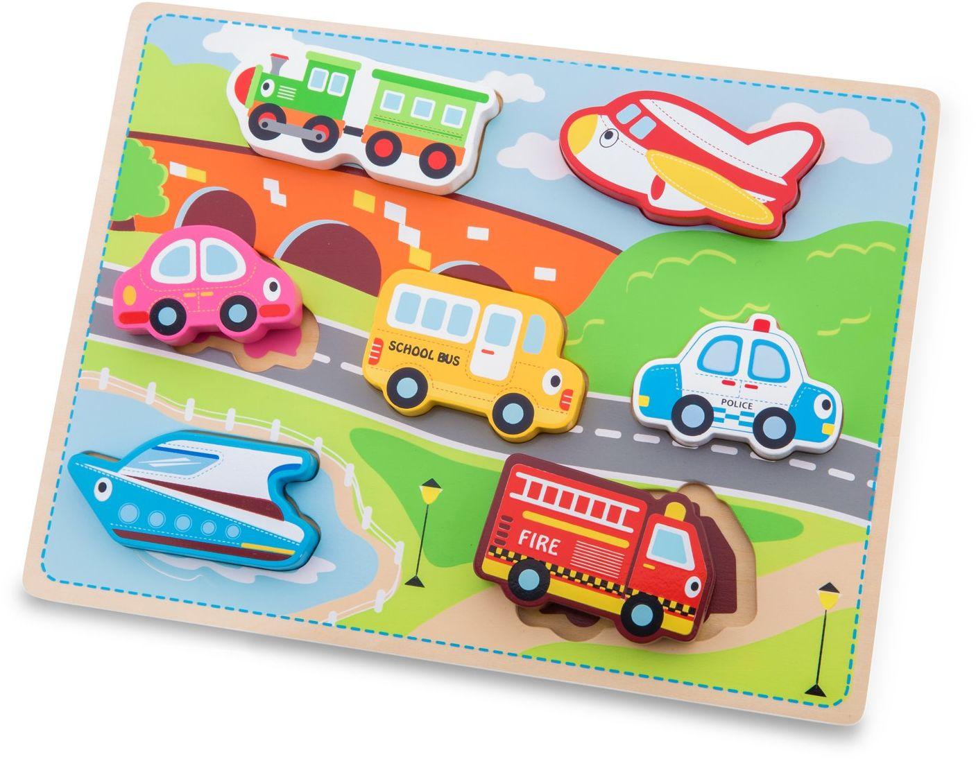 New Classic Toys 10520 masywne puzzle transportowe - edukacyjne drewniane zabawki dla 2-letniego chłopca i dziewczynki maluchów